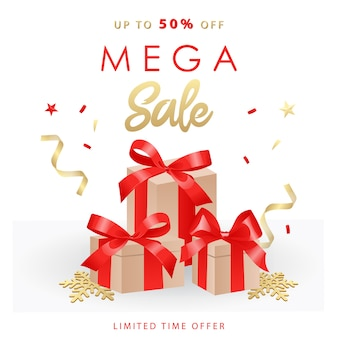 Banner de mega venta. venta y descuentos con cintas, lazos, cajas regalo.