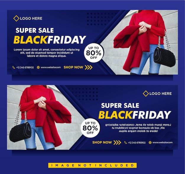 Banner de mega venta de viernes negro, portada de facebook de redes sociales con plantilla azul