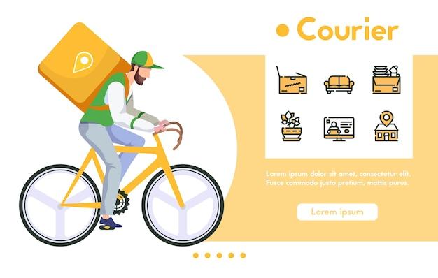 Banner de mensajería hombre con paquete en bicicleta. entrega rápida de comida o compras, compras digitales. conjunto de iconos lineales de color - paquete de muebles, ubicación de seguimiento