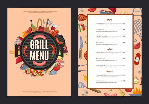 Banner de menú de parrilla de barbacoa para restaurante