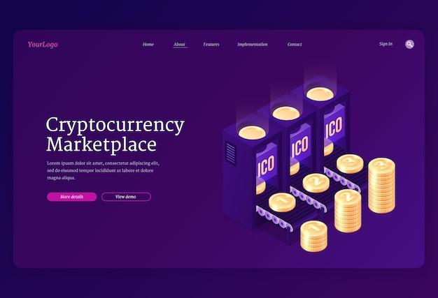 Banner de mercado de criptomonedas. concepto de cambio de moneda criptográfica en línea o transacción con blockchain y dinero digital. página de destino con pilas isométricas de monedas en el mercado web