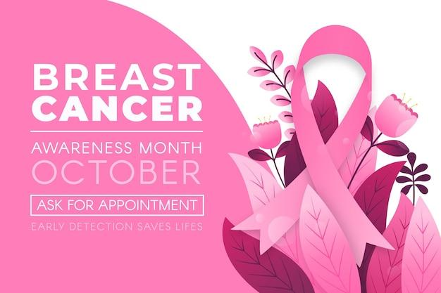 Banner del mes de concientización sobre el cáncer de mama con hojas