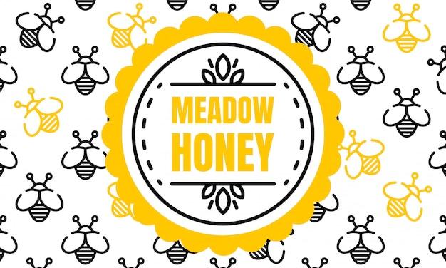 Banner de miel de pradera, estilo de contorno