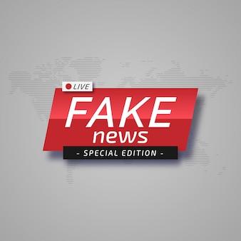 Banner minimalista con edición especial de noticias falsas