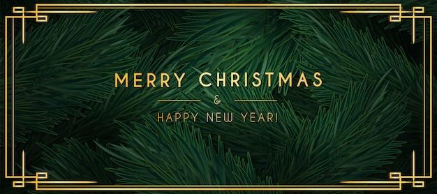 Banner minimalista de feliz navidad con adornos dorados