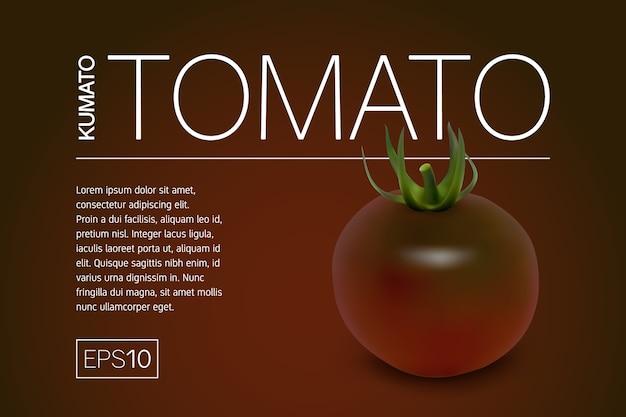 Banner minimalista con variedades realistas de tomate kumato negro y un fondo oscuro brillante.