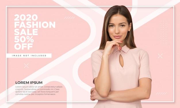 Banner minimalista de venta de moda