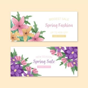 Banner de moda floral primavera venta dibujado a mano