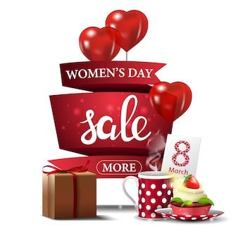 Banner moderno de descuento rojo para el día de la mujer.