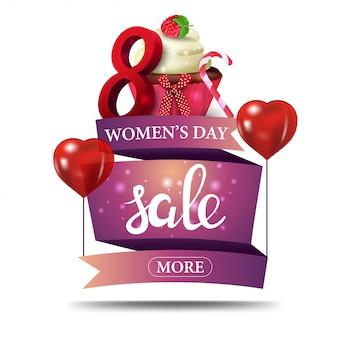 Banner moderno con descuento rosa para el día de la mujer.