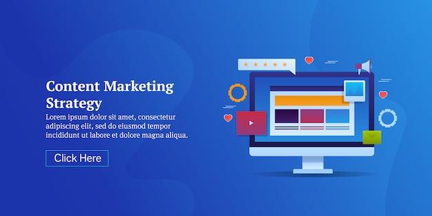 Banner moderno de estrategia de marketing de contenidos