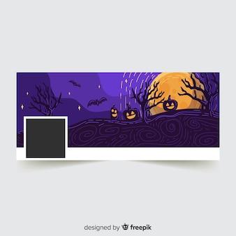 Banner moderno de facebook con concepto de halloween