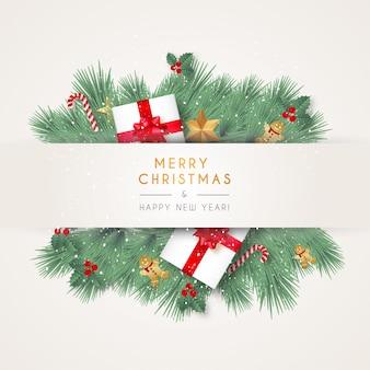 Banner moderno de feliz navidad con elementos