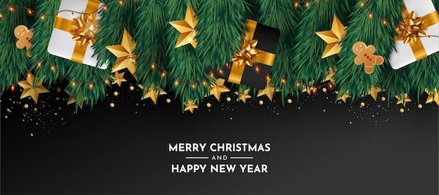 Banner moderno de feliz navidad y feliz año nuevo con objetos realistas