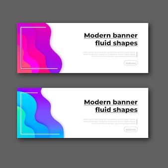 Banner moderno con formas abstractas.