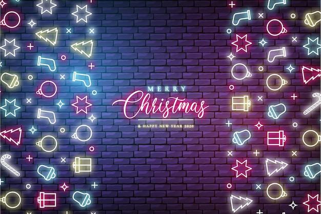 Banner moderno de navidad con luces de neón
