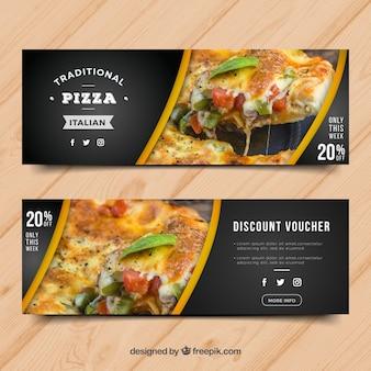 Banner moderno de pizza