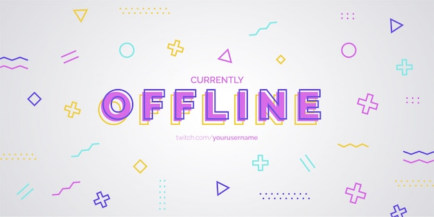 Banner moderno de twitch con memphis