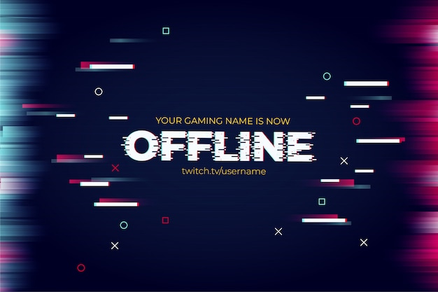 Banner moderno de twitch con plantilla de efecto de texto de falla