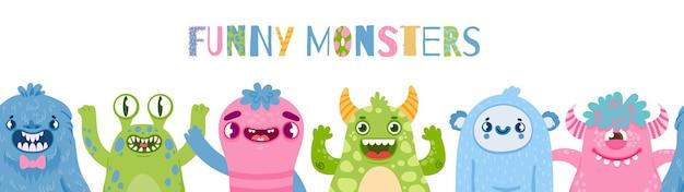 Banner de monstruos de halloween. feliz fiesta de monstruos con personajes lindos. dibujos animados de monstruos divertidos y extraterrestres para el cartel de vector de cumpleaños de niños. ilustración mutante y extraño, banner de cumpleaños.