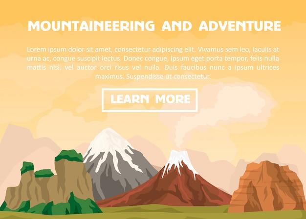 Banner de montañismo y aventura al aire libre