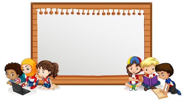 Banner con muchos niños leyendo libro