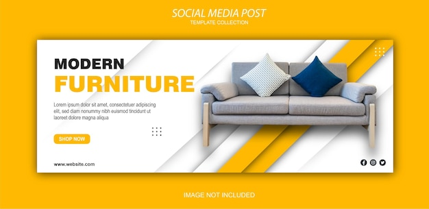Banner de muebles modernos, tamaño panorámico para portada de facebook