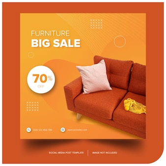 Banner muebles sofá naranja premium descarga gratuita