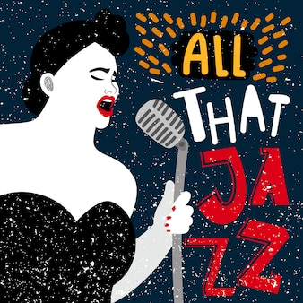 Banner de música con cantante femenina. toda esa ilustración de jazz