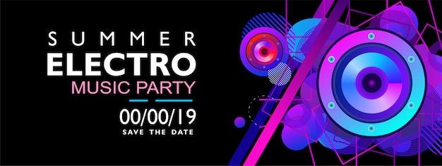 Banner de música electro de verano para fiesta, evento y concierto. con forma colorida sobre fondo negro.