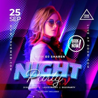 Banner de música de fiesta nocturna para plantilla de redes sociales
