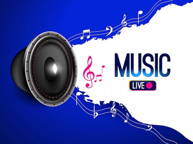 Banner de música en vivo con notas musicales.