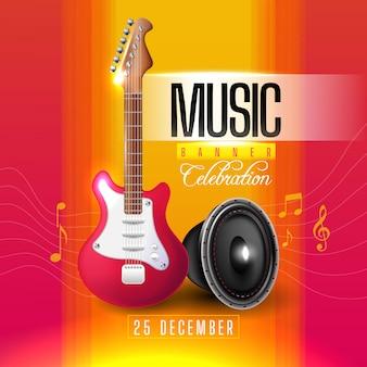 Banner musical con guitarra y altavoz.
