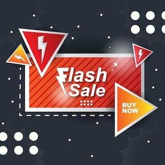 Banner naranja fondo abstracto venta flash