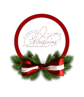 Banner de navidad con arco y ramas de árboles de navidad. banner de venta de vacaciones. vector plantilla de navidad