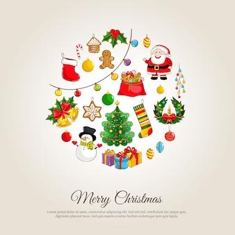 Banner de navidad con atributos de vacaciones de invierno