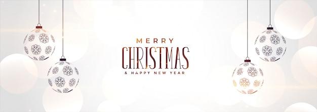 Banner de navidad blanca con bolas colgantes