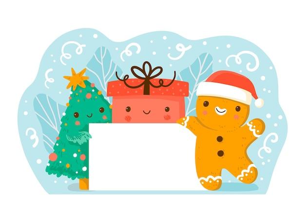 Banner de navidad en blanco con hombre de pan de jengibre sosteniéndolo