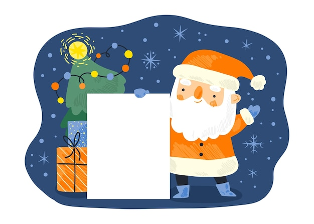 Banner de navidad en blanco con santa claus sosteniéndolo