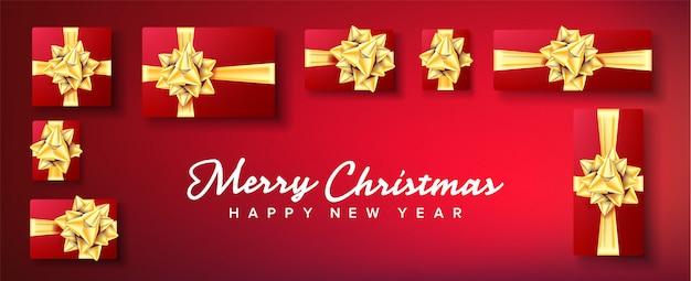 Banner de navidad. caja de regalo con lazo dorado