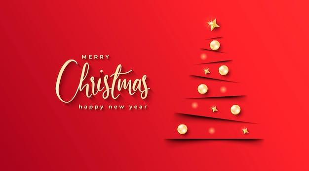 Banner de navidad elegante con árbol de navidad minimalista y fondo rojo