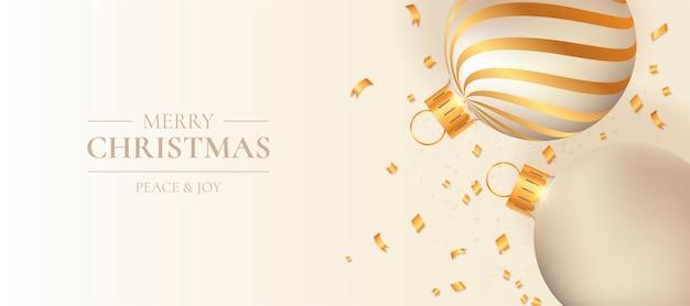 Banner de navidad con elegantes bolas de navidad