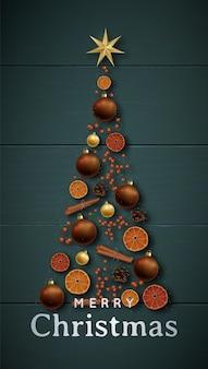 Banner de navidad festiva con árbol de navidad