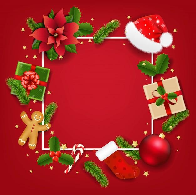 Banner de navidad con flor de pascua roja