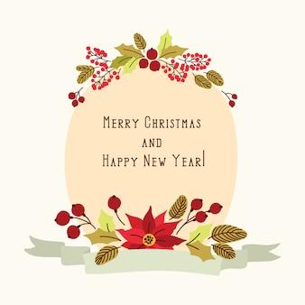Banner de navidad con flores vintage