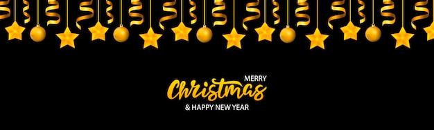 Banner de navidad con letras y estrellas.