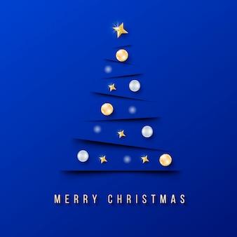 Banner de navidad moderno con árbol de navidad minimalista y fondo azul