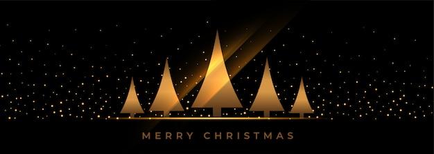 Banner de navidad negro con árbol de oro
