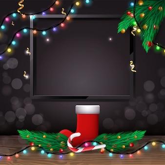 Banner de navidad o año nuevo con elementos tradicionales de navidad y espacio vacío para su texto.