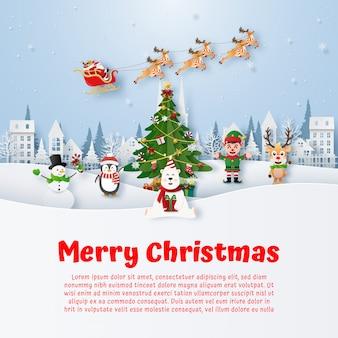 Banner de navidad con personaje de dibujos animados de navidad
